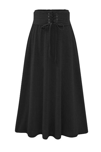 34f15a3982 Las Mujeres De Cintura Alta Venda Solida Elegante Gotico Maxi Faldas  Plisadas Black One Size  Amazon.es  Ropa y accesorios