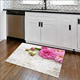 Non-slip Thicken Carpet Pink double roses and buds on the white rustic background Easier to Dry for Bathroom W17'' x H14''