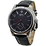 BPC Mens Analog Hybrid Smart Watch Quartz Activity Fitness Tracker Smartwatch with Call/Message/App Vibration Week Display Alarm Camera Black Genuine Leather Sync with Phone