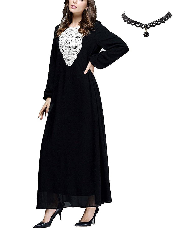cf39808f662 M-Queen Musulmane Long Maxi Robe Femmes Mousseline De Soie Islamique Abaya  Muslim Robe Manche