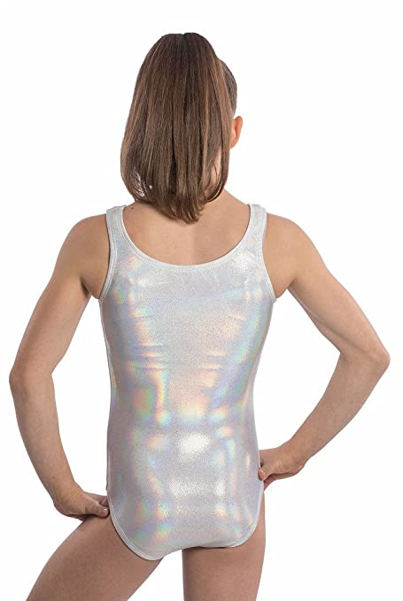 900a9f13ba13 Amazon.com  Girls Gymnastics Leotards White Hologram - Red