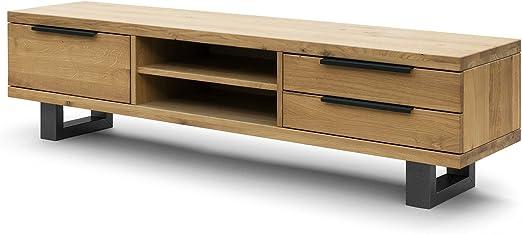 COMIFORT Mueble de TV - Mesa de Roble Macizo para Salón Moderno ...