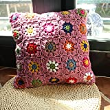 Violet Crochet Wool Spinning Circular Cushion Chair Pad Christmas Halloween Gift Throw Pillow 40cm
