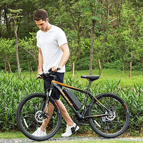 ANCHEER Electric Bike Electric Mountain Bike 350W Ebike 26'' Electric Bicycle, Newest 20MPH Adults Ebike with Removable 36V 7.8Ah Lithium-Ion Battery, Professional 21 Speed Gears