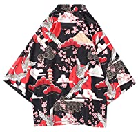 LifeHe Men's Japan Crane Kimono Cardigan Casual Open Front Coat Shirt