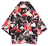 LifeHe Men's Japan Crane Kimono Cardigan Casual Open Front Coat Shirt (Red, L)