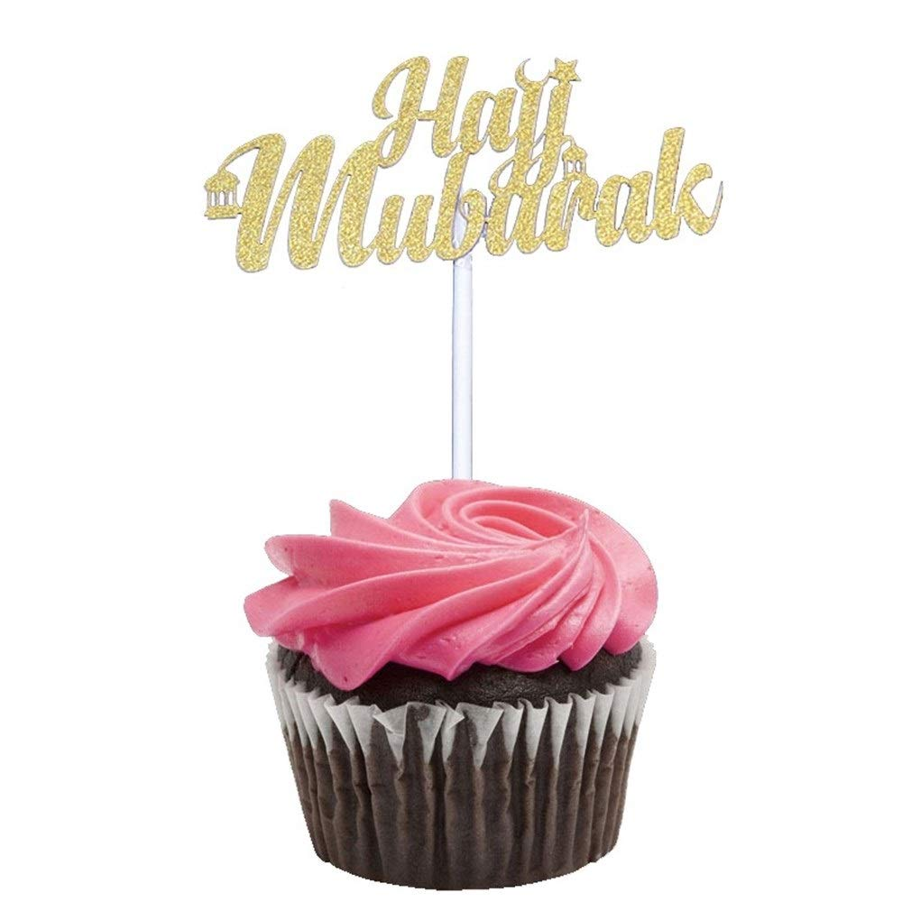 BeTyd 50Pcs Gold Sliver Laser Cut Hajj Mabrour Paper Cupcake Toppers,Happy Eid Candy Box,Islamic Eid Mubarak Party Decoration Supplies ( Color : 4 Style )