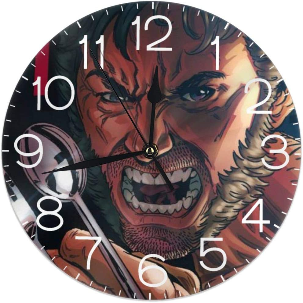 HOHOHAHE Wolverine Spoon Claws Wall Clock Round Style,Silent Non-Ticking Wall Clock,Battery Operated Art Decorative for Kitchen,Living Room,Kids Room and Coffee Decor (10 Inch)