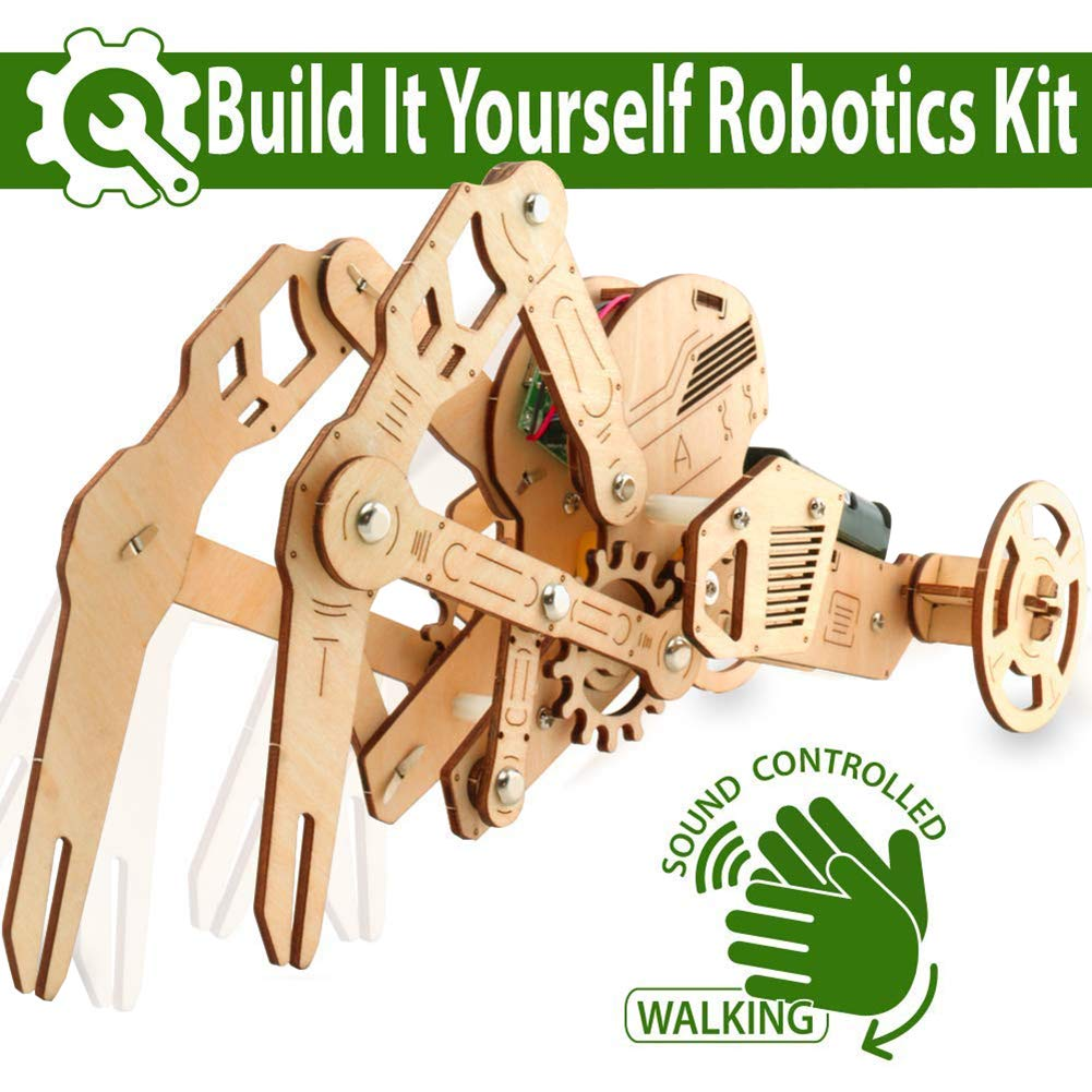 UC Global Trade Inc 3D DIY Walking Robot Kit Mechanical Wooden Puzzle - Sound Controlled Crawfish Robotics Toy, Wood by UC Global Trade Inc