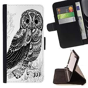Super Marley Shop - Funda de piel cubierta de la carpeta Foilo con cierre magn¨¦tico FOR Samsung Galaxy Note 3 III N9000 N9008V N9009- Owl Owls Cute Chevron Aztec