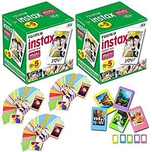 Fuji Instax Mini Instant Film 100 Shots with Bonus 60 Decorative Skin Stick-on Stickers for Fuji Instax Mini 8, SP-1 and SP-2