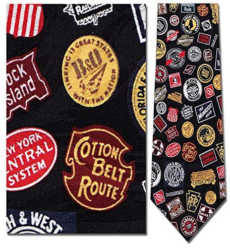 Logo Silk Necktie Ties (Museum Artifacts Navy Blue Railroad Logo Emblems Necktie Tie Neckwear)