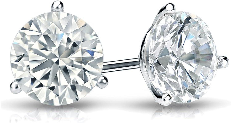Diamond Wish 10k Gold Round SINGLE Diamond Stud Earring 0.08cttw, Premium, SI1-SI2 4-Prong Basket Screw-Back