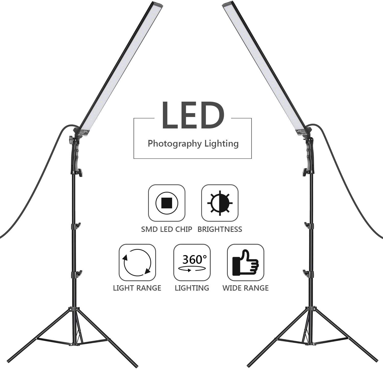 Neewer 60 LED Light Studio LED Lighting Kit - 2 Packs Light Handheld LED Video Light Stick 5500K with Adjustable Brightness, 2 Meters Light Stand for Portrait, Product Photography, Video Light