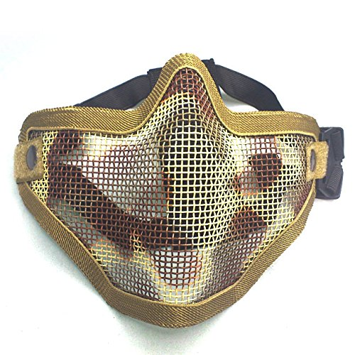 H World Shopping Tactical Paintball Airsoft Steel Wire Mesh Skeleton V1 Half Face Protective Mask Desert Tan Camo ()