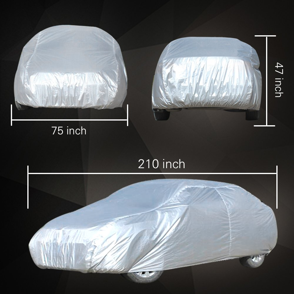 1pc ECCPP Car Cover 1 Year Warranty Universal Fit 100/% Breathable Waterproof Frost Resistant Cover All Weather Protection Auto Car Cover With Polyester 210 Long for Cars Silver Grey