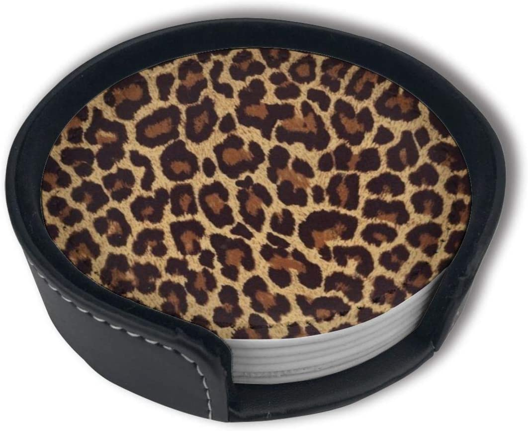 Cool Cheetah Leopard Luxury Coasters Protect Furniture from Water Marks Scratch and Damage,Suitable for All Kinds of Cups,Set of 6