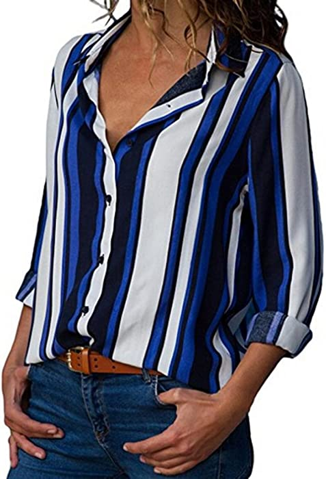 a8d65794be1 Hemlock Lady Office Lapel Shirts Long Sleeve Button Tops Blouse Office Work  T-Shirt Stripe