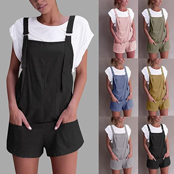 Ladies Overalls Baggy Adjustable Strap Sleeveless Jumpsuits Casual Loose Wide Leg Dungarees Rompers Shorts Pants Romper Trousers Playsuits Summer LILICAT Women Girls Jumpsuits