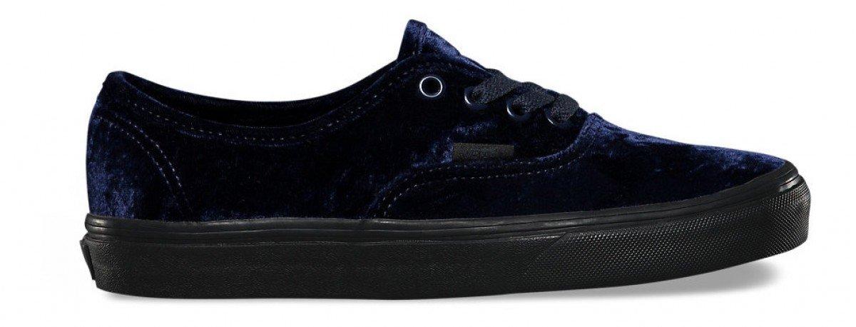 Vans Unisex Authentic Velvet Skate Shoes-Velvet Navy-9.5-Women/8-Men