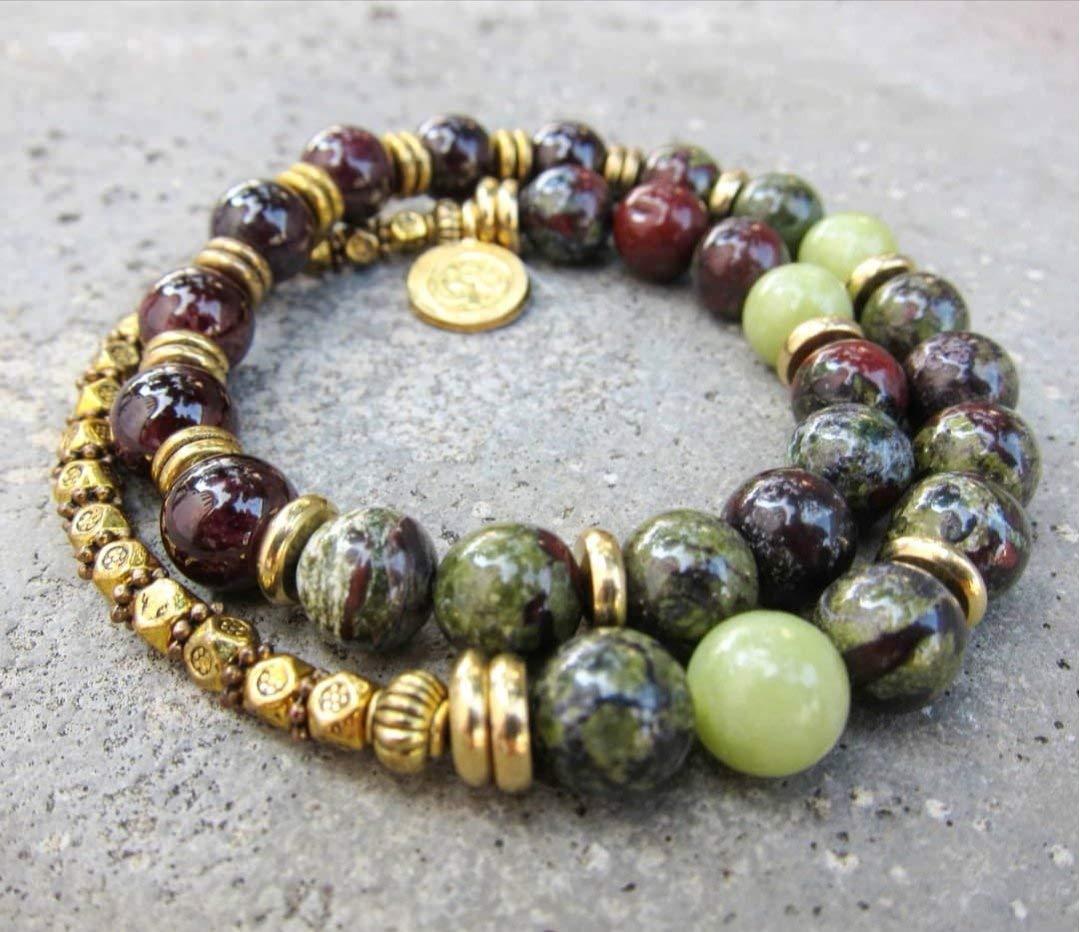 Hill Tribe Silver Ohm Charm Unisex Grounding Energy Simple Stretch Bloodstone Beaded Bracelet Gemstone Bracelet Yoga Jewelry.
