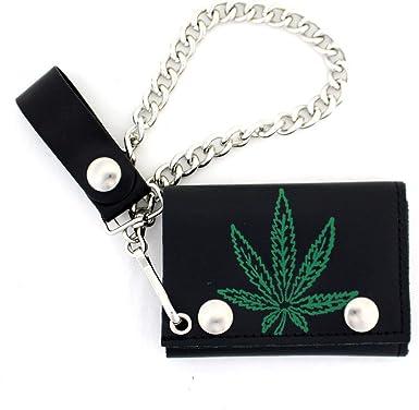 Tri Fold Leather Marijuana Chain Wallet