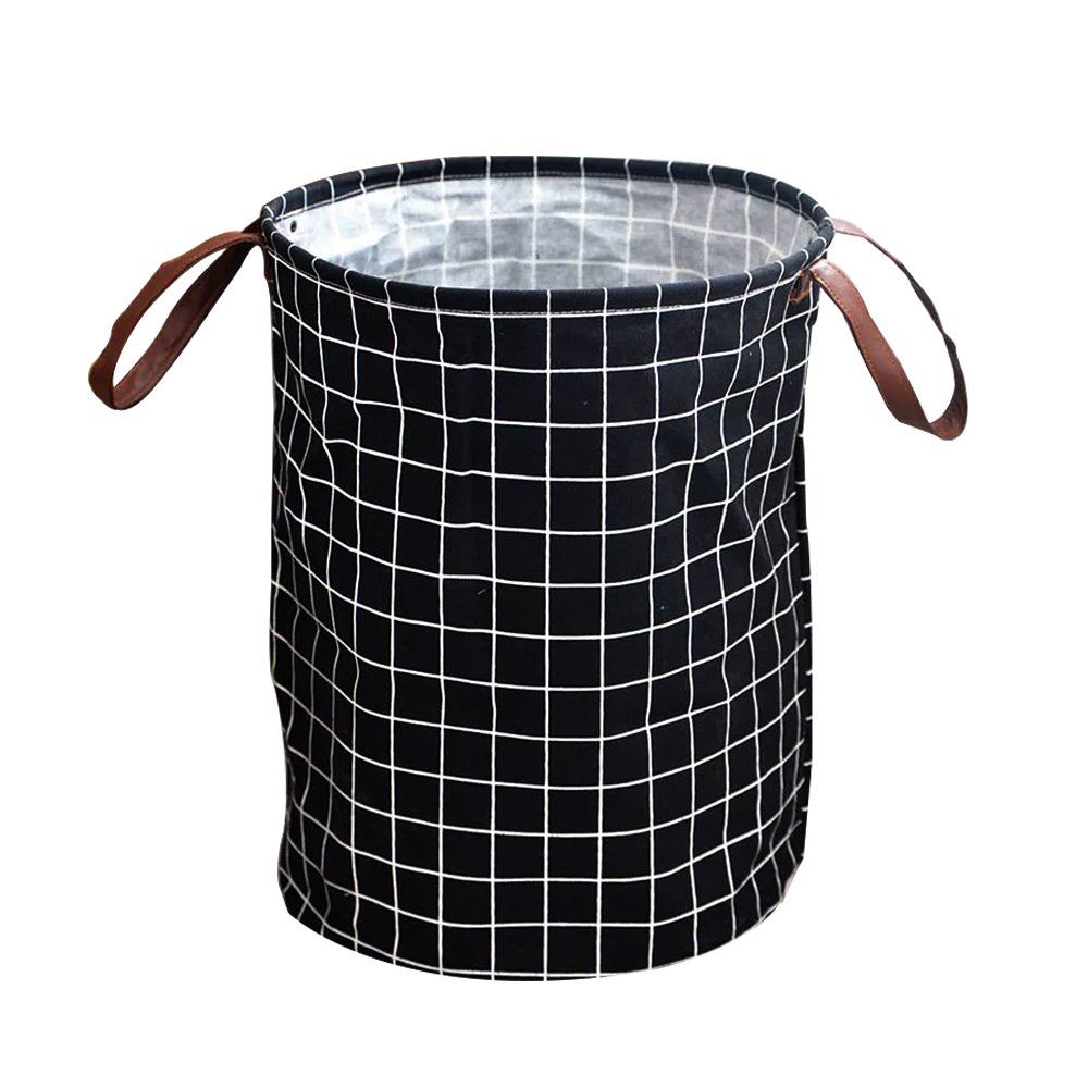 Storage Basket & Laundry Hamper .AIDUN 'LOVE LIFE' .Laundry Basket ( 17.7 ✖️ 13.8 approx inch )Foldable Drawstring Waterproof Round Cotton Linen Collapsible Storage Basket (black plaid, white plaid) (black plaid)