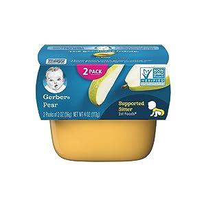 Gerber Purees, 1st Foods, Pear, 4 oz (pack of 2)