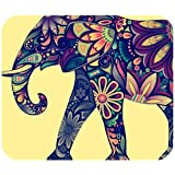 Schoolsupplies Rectangle Mouse Pad Mat With Aztec Elephant Image Cloth Cover Non-slip Backing