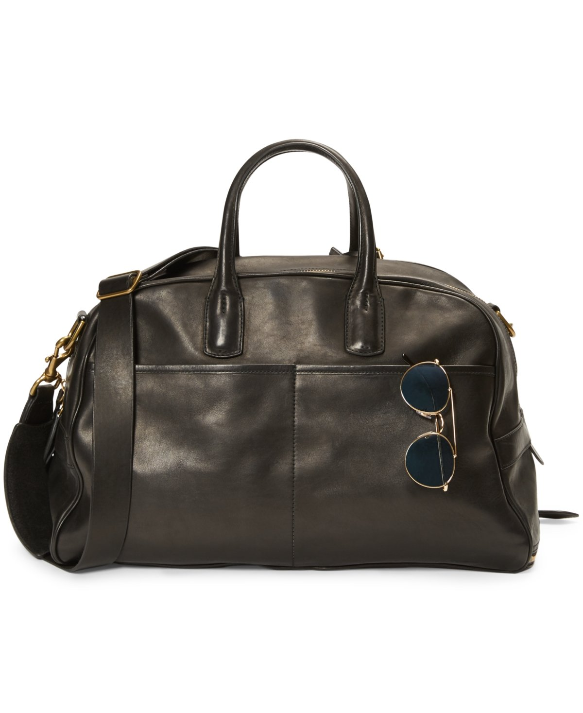 e75ec39d4 Galleon - Polo Ralph Lauren Leather Sports Carryall Gym Bag, Black, 1 Size