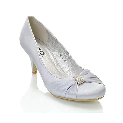 new concept 5cae8 a0eea ESSEX GLAM Scarpa Donna Tacco Basso Finto Diamante Fibbia Slip-On Sera  Festa Matrimonio