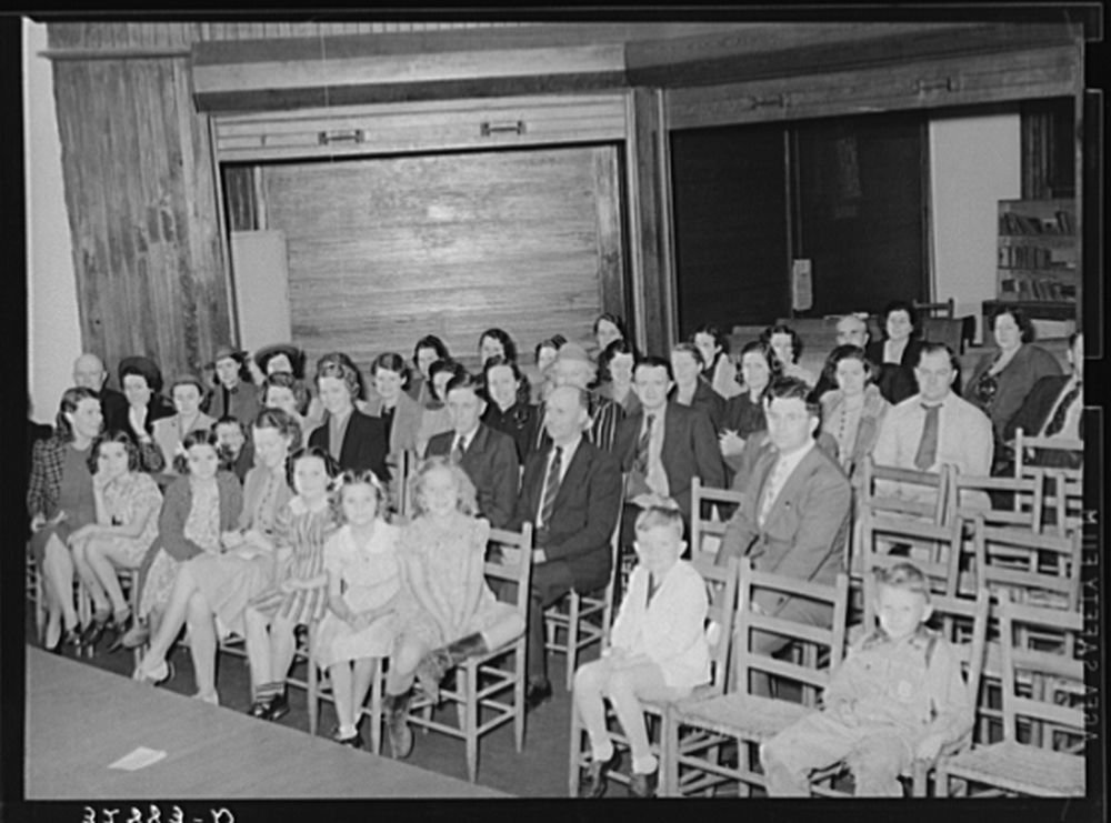 Meeting of Parent Teachers Association in grade school. San Augustine, Texas