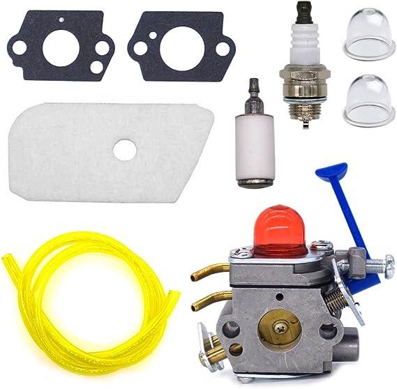 Replaces 545081848 C1Q-W40A W38 QAQGEAR 128LD Carburetor with Air Filter Tune Up Kit fit Husqvarna 124L 125L 125LD 125R 125RJ 128C 128CD 128L 128LD 128LDX 128R 128RJ 128DJX Trimmer