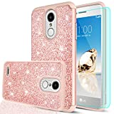 lg 2 cases - LG Aristo 2 Case,LG Tribute Dynasty/LG Zone 4 Case with HD Screen Protector,LeYi Glitter Girls Women [PC Silicone Leather] Dual Layer Heavy Duty Protective Case for LG K8 2018 (X210) TP Rose Gold