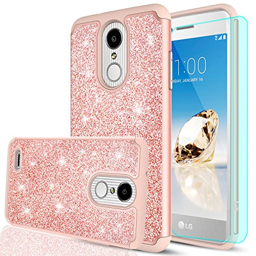LG Aristo 2 Case,LG Tribute Dynasty / LG Zone 4 Case with HD Screen Protector,LeYi Glitter Girls Women [PC Silicone Leather] Dual Layer Heavy Duty Protective Case for LG K8 2018 (X210) TP Rose Gold (Body Glove T-mobile)