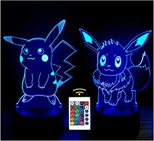3D Optical Illusion LED Night Light, Boy Girl Kids Baby Sleep Desk Lamp Touch Control 7 Color Change USB Powered for Home Decorations or Holiday Gifts (3D Animal )