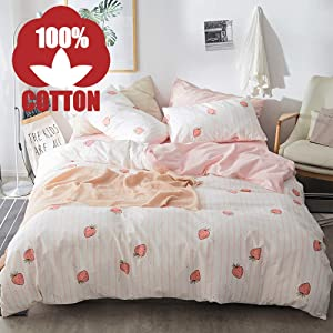 XUKEJU Cute Fruit Duvet Cover with Two Pillowcases Fun Funny Patterns Printing Bedding Set 3 pcs for Girls/Boys Strawberry Full/Queen