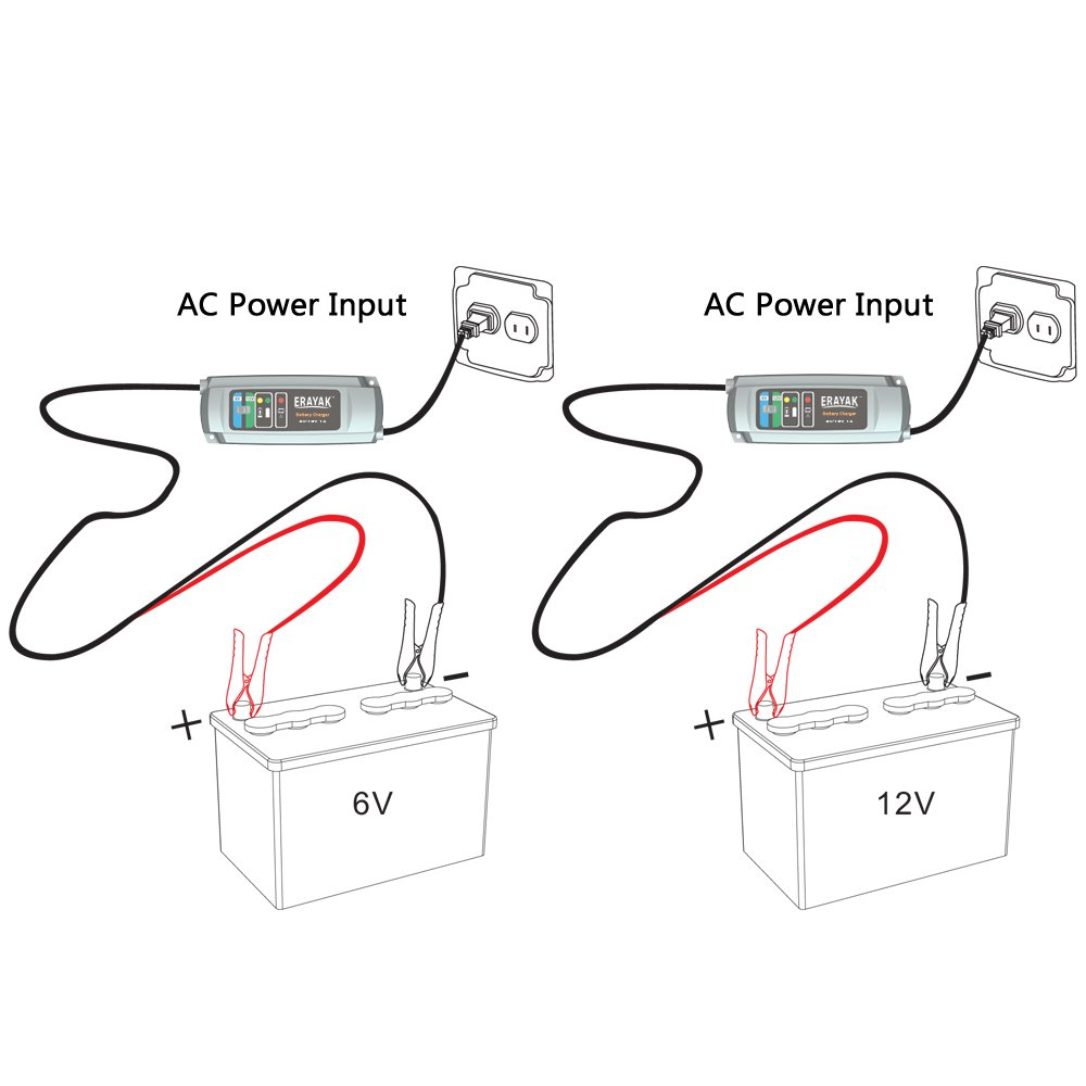 Erayak 3 Step 6v 12v Car Battery Charger Maintainer Circuit Diagram With Auto Cut Off C9301 9306 1a Automotive