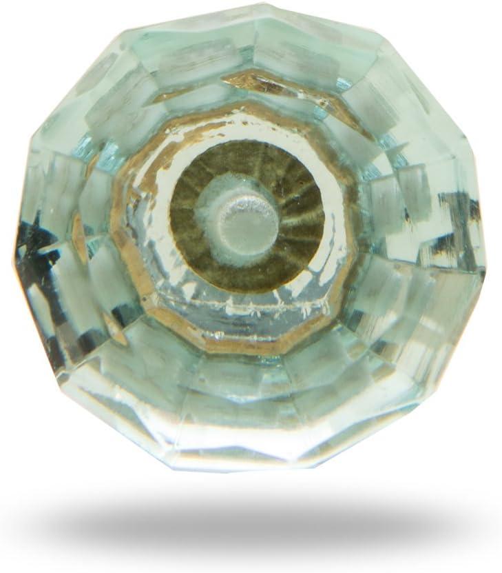 Cut Glass Classic Knob Turquoise by Trinca-Ferro