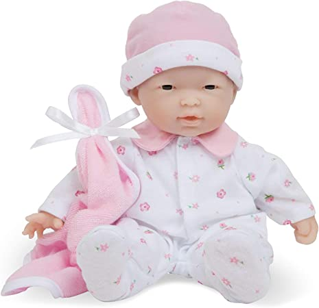 """JC Toys La Baby- Asian Baby Doll (in Pink, Purple, or Blue), 11"""""""