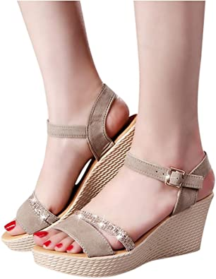 Fashion Summer Platform Sandals Inkach Women Wedges Sandals Chunky High Heels Ankle Wrap Shoes