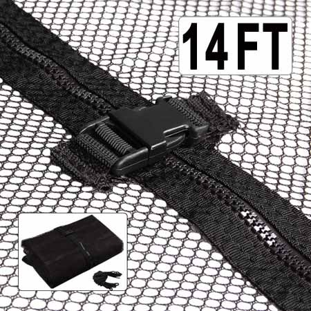 "Black 14' Feet Trampoline Enclosure Safety Net Replacement w/ 71"" H Mesh Netting Zip Buckle Closures for Outdoor Family Fun Play Lawn Game Bounce Jump Exercise by Generic"