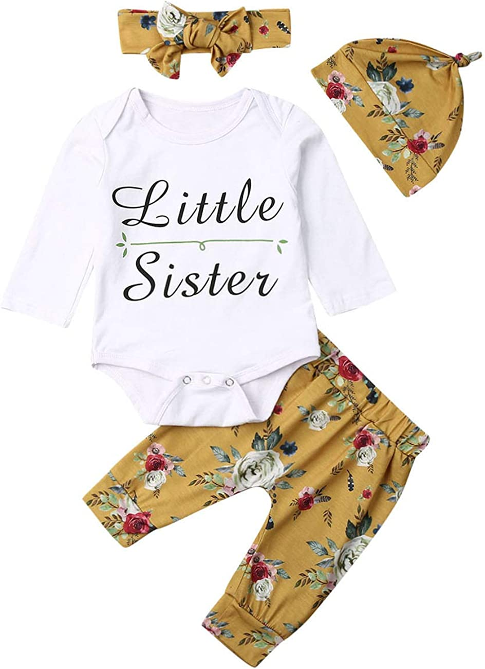 4Pcs Newborn Infant Baby Girl New Year Cute Long Sleeve Outfit Little Sister Romper+Print Pant+Headband+Hat Fall Winter Clothes