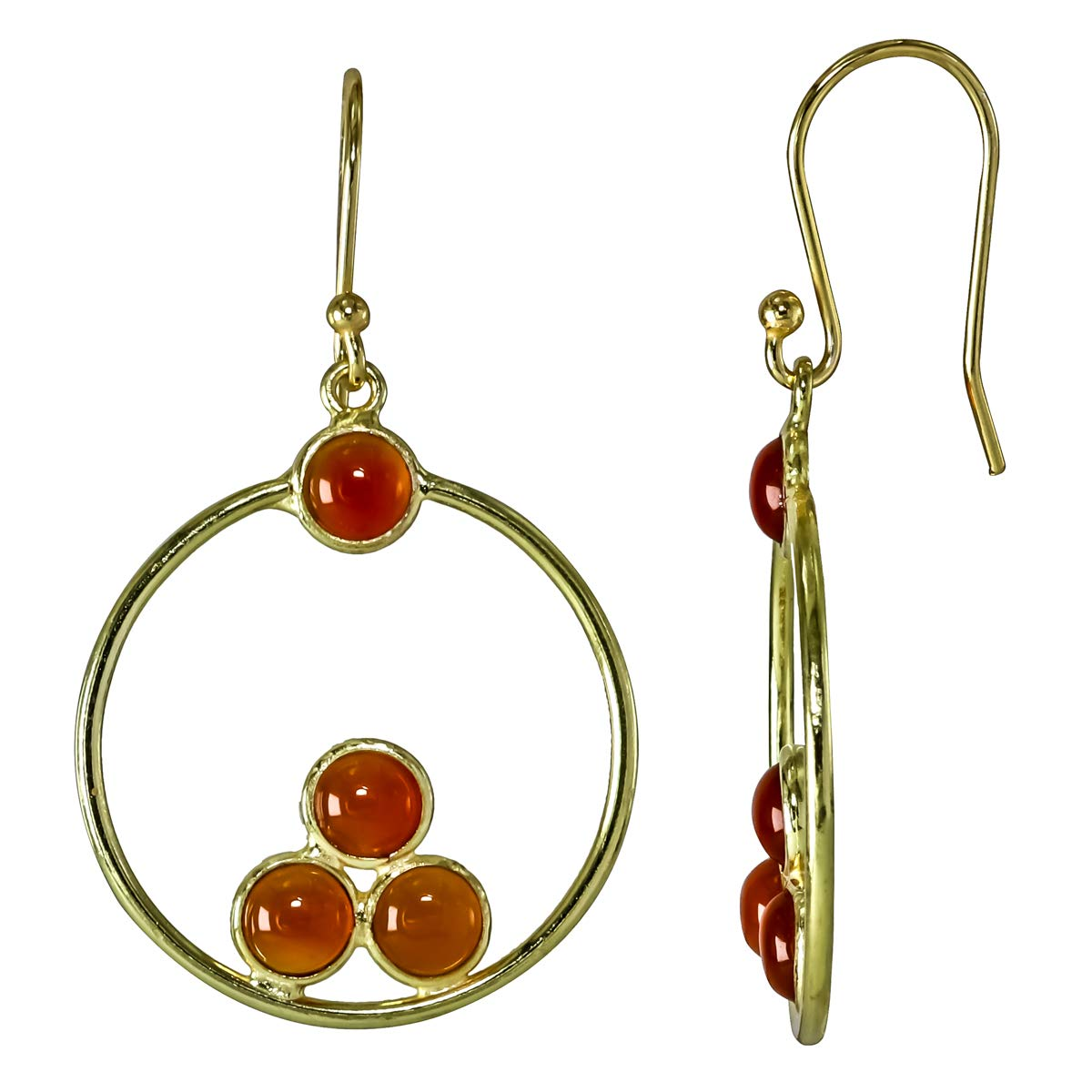 Carnelian 18k Gold Plated 925 Sterling Silver Bezel Handmade Dangle Earrings