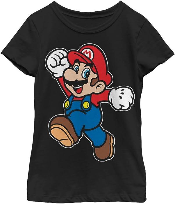 6d1a2b71c1b627 Amazon.com  Nintendo Girls  Super Mario Happy Black T-Shirt  Clothing