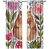Returiy Watercolor Flower, Kitchen Curtains Valances, Cute Bear with Flowers and Bee Animal Spirit Nature Modern Illustration, Curtains for Party Decoration, W72 x L96 Inch, Multicolor