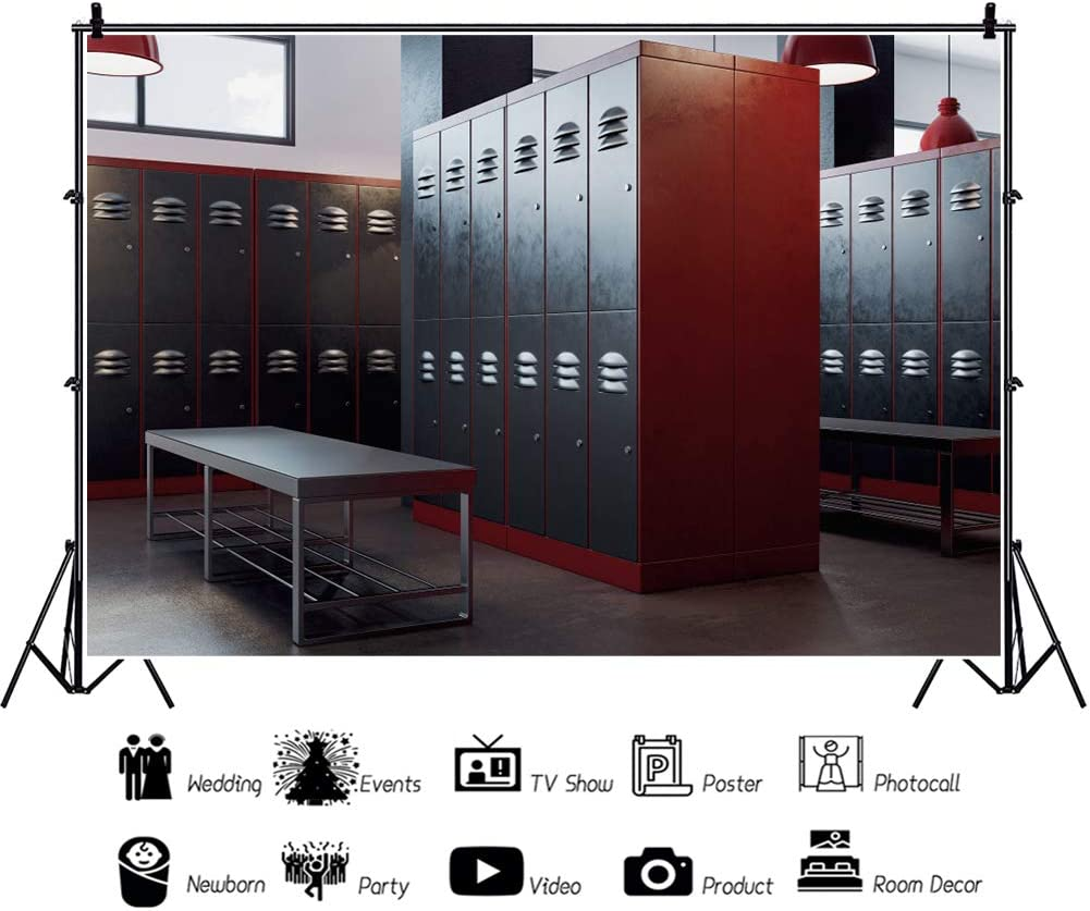 YEELE Gym School Interior Backdrop 15x10ft Old Lockers Photography Background Back to School Theme Club Event High School Students Teammate Gathering Photo Studio Props Digital Wallpaper
