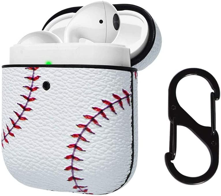 Front LED Visible Airpod Case Cover Baseball AirPods Accessories Cover Compatible with Apple Airpods 1 /& AirPods 2 Protective PC Plastic Inner PU Vegan Leather Pattern Skin /& Keychain