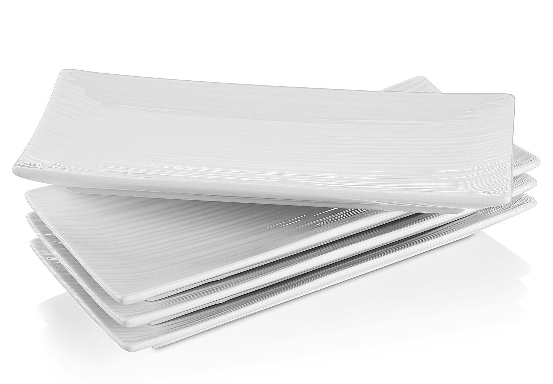 Lifver 10-inch Porcelain Serving Platter/Rectangular Plates White Set of 4 COMINHKPR141603