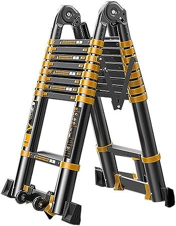 Escalera telescópica 3,4 M / 11 Pies Plegable Escalera Multiusos De Aluminio De Extensión Telescópica De Altas Prestaciones Escalera con Barra De Soporte, Negro, La Carga Máxima De 300 Kg / 660lb: Amazon.es: Hogar